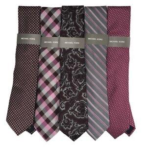 Michael Kors Mens Lot Of 5 Necktie Multicolor Stripe Silk Blend Classic New