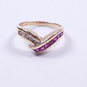 Ruby and Diamond Ring  9 carat gold Wishbone Size M1/2