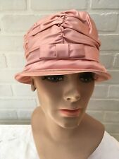276ef9efbf9 Vintage 1960 s PINK Satin SILK Shirred Cloche Hat 21 ...