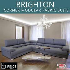 New Luxury Linen Fabric 6 Seater Brighton Corner Modular Suite, Grey Color