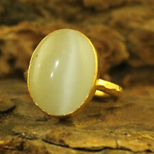 Handmade Hammered Big White Cat Eye Ring 24K Gold Over 925K Sterling Silver