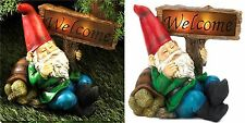 """WELCOME"" GNOME & TORTOISE TURTLE SOLAR ""LIGHTS-UP"" STATUE SCULPTURE SIGN  * NIB"