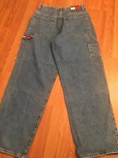 Vtg 90's TOMMY HILFIGER Carpenter Pants 32/34 Relaxed Hip Hop Logo Denim Jeans