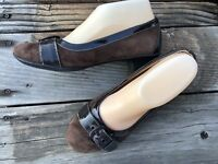 Womens Size 7.5 EURO SOFFT Brown Suede Patent Leather Low Heel Pumps Kitten Flat