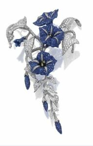 925 Sterling Silver Convolvulus Tiny Blue White Round CZ Flower Leaf Brooch Pin