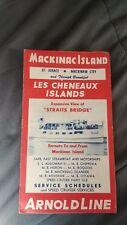Vintage 1958 Michigan Mackinac Island Ferry Steam Arnold Boat Ship Line Schedule