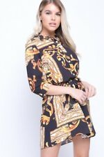 UK Womens Baroque Scarf Print Shirt Dress Ladies Belted Sleeve Paisley