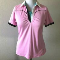 Annika Cutter & Buck Size L Pink Collared Polyester Polo Shirt Material Shimmers