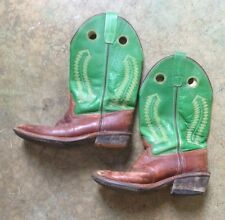 OLD WEST green/brown square COWBOY BOOTS youth 2 leather