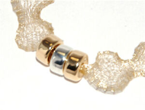ONE METRE LIGHT GOLD METALLIC WIRE MESH RIBBON FROM MENONI ITALY, LIKE WIRELACE