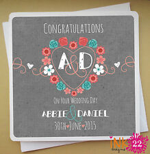 Personalised Custom Stylish Wedding Engagement Card Floral Initials Heart Gift