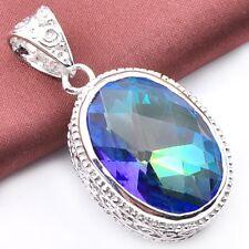Super Huge Gorgeous Rainbow Fire Mystic Topaz Vintage Silver Necklace Pendant
