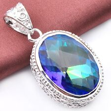 Natural Shiny Gorgeous Rainbow Fire Mystic Topaz Vintage Silver Necklace Pendant