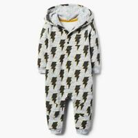 NWT Gymboree Rising Stars Baby Boys Gray Bolt Hooded Romper Jumpsuit
