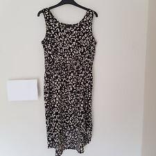 DA/33 Size 12 Black & White Dress Animal Print Elastic Waist Summer Holiday VGC