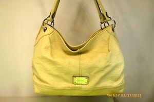 NINE WEST Beige XLG TEXTURED Faux Leather RUCHED Hobo SHOULDER BAG Tote Handbag