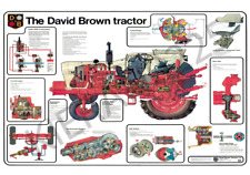 (A3) David Brown 1412 Case Poster Brochure Tractor and varoius parts cut through