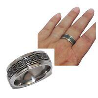 Bague anneau mixte en acier inoxydable orné d'une frise T 58 bijou