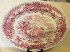 Platter/Serving Tray Woods Burslem Seaforth Red/Pink England Ralph Enoch 1930's