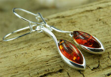 Earrings Sterling Silver Amber Vintage & Antique Jewellery
