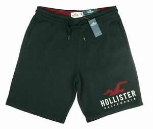 New Men's Hollister Classic Embroidered Fleece Jogger Shorts Casual M L XL Black