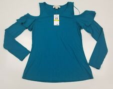 Michael kors women cold shoulder basic top stretch deep teal long sleeves size M
