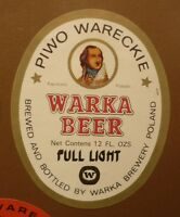 OLD POLISH BEER LABEL, BROWAR WARKA PIWO WARECKIE POLAND, FULL LIGHT 4