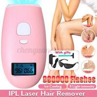 990000 Pink IPL Permanent Hair Removal Machine Painless Epilator Kit Skin Face