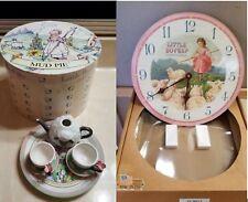 MUD PIE Little Bo Peep Tea Set w/ Box, Timeworks Little Bo Peep Clock - as is