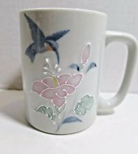 Otagiri  Blue Hummingbird Coffee Mug Pink Flowers Raised 3 D Effect Japan