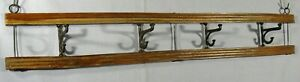"ANTIQUE/VINTAGE WOOD WALL HUNG HAT/COAT/CAP RACK w/4- 2-STEP HOOKS 27""L x 4""H"