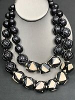 Vintage Chicos Black White Chunky 2 Strand Carved Beads Necklace Boho Bohemian
