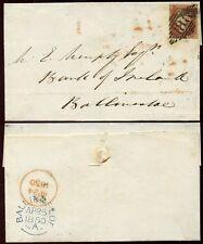 PENNY RED IMPERF IRELAND 1850 DUBLIN to BALLINASLOE
