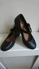 "CLARKS ACTIVE AIR BLACK LEATHER WEDGE SHOES ""FLAKE BERRY"" SIZE 3 WORN ONCE"