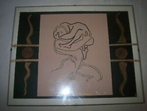 SIGNED DRAWING OF NUDE MALE FRONTAL HOLDING MALE ARMS IN GLASS MOUNTED FRAME