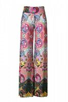 Womens New Hot Fashion Trend Popular Wide Leg PALAZZO Pants PINK MULTI  S~M~L
