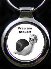 Frau am Steuer Gravur Schlüsselanhänger Fun Schnecke als Fotogravur & Textgravur