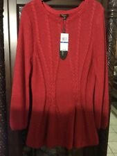 New CUPIO Women's XL Sweater Tunic Red Metallic Long Sleeve Braid  Solid NWT $69