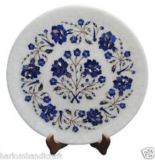 """13"""" Marble Plate Lapis Semi Inlay Gems Inlaid Marquetry Kitchen Gifts Decor H869"""