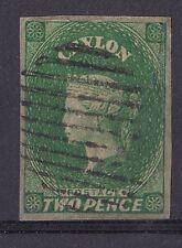 DB197) Ceylon 1857 2d Green, imperf. SG3