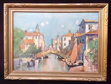 Vintage Painting Canal Scene Signed E B (?) Needs Research Oil on Canvas