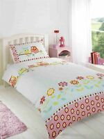 OWLS FLORAL FLOWERS POLKA DOTS PINK BLUE WHITE COTTON BLEND SINGLE DUVET COVER