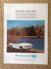 INNOCENTI S Cabriolet CAR Advert & JAGUAR D-TYPE 1950's Poster SPORTSCAR