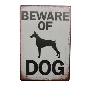 2x Warning Tin Sign Beware of Dog Property Security Private 300*200mm Metal