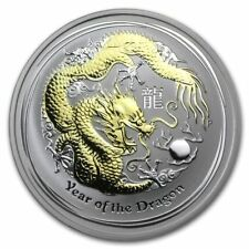 2012 Australia 1 dollar Year of Dragon Series 2 1 oz silver gilded coin