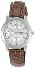 Casio MTP1192E-7A Mens Brown Leather Casual Dress Watch 3 Dials White Dial NEW
