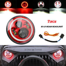 7'' LED Round Hi-Lo Headlight Halo Angle Eyes Red/White For Wrangler JEEP Hummer