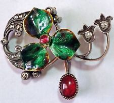 ANTIQUE RUSSIAN ART NOUVEAU  14K ENAMEL, DIAMONDS RUBY BROOCH PIN