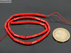 Natural Coral Gemstone 3mm x 7mm Round Tube Beads 16