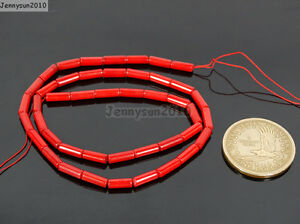 Natural Coral Gemstone 3mm x 7mm Round Tube Beads 16'' Strand Red Orange Pink